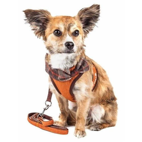 Pet Life HA27TNSM Luxe Pawsh 2-in-1 Mesh Reversed Adjustable Dog Harness-Leash with Fashion Bowtie, Tangerine - Small
