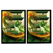 """MAX PRO Dragon Invasion """" TROUBLE AT THE TEMPLE """" 100 Matching GLOSS Finish Sleeves (fits Magic / MTG, Pokemon Cards)"""