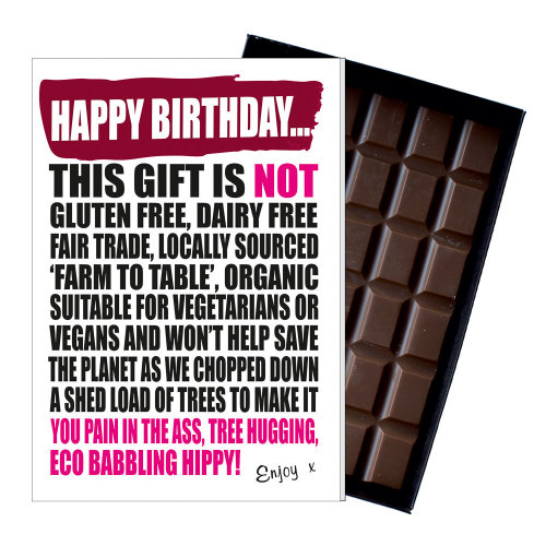 Funny Vegetarian Vegan Birthday Gift Chocolate Greetings Card Present Hippies On OnBuy