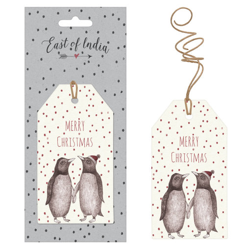 East of India Cream Spotty Merry Christmas Tags With Penguins x 6