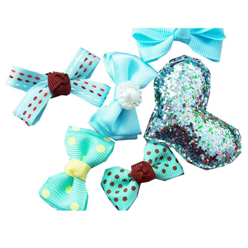 6Pcs Different Shape Colorful Baby Hair Clips-Mint Green