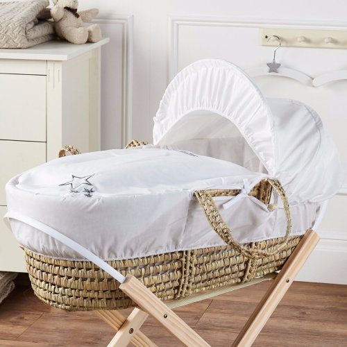 Baby Moses Basket White My Little Star Palm