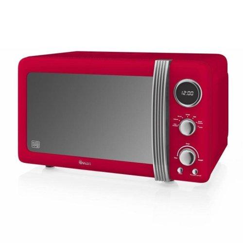 Swan Retro Digital Microwave 20 Litre 800 Watt Power - Red (SM22030RN)