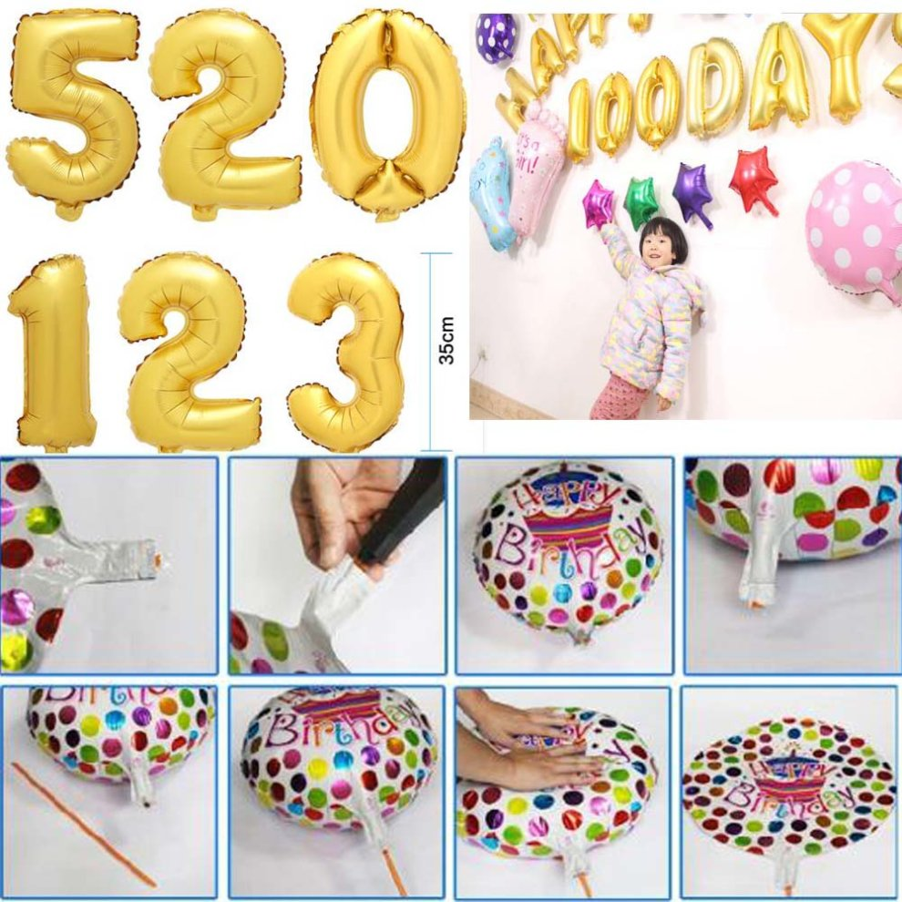 Number Foil Balloons Party Wedding Birthday Decorations 10Pcs 2