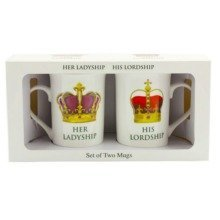 Her Ladyship His Lordship 2 Mug Set Two Cups Fine China Gift Boxed Souvenir