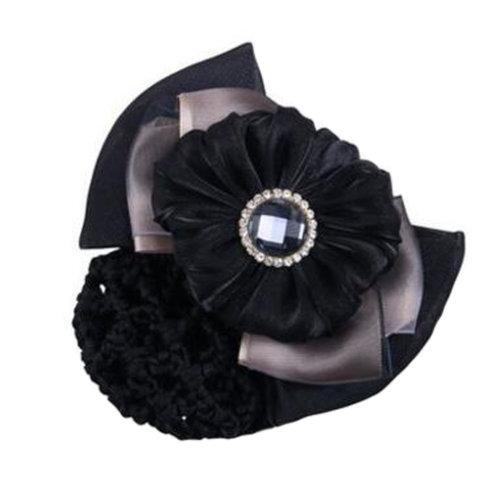 Girls Elegant Snood Net Hairnet Hair Clip Bun Cover Bow Barrette Hairdressing, F