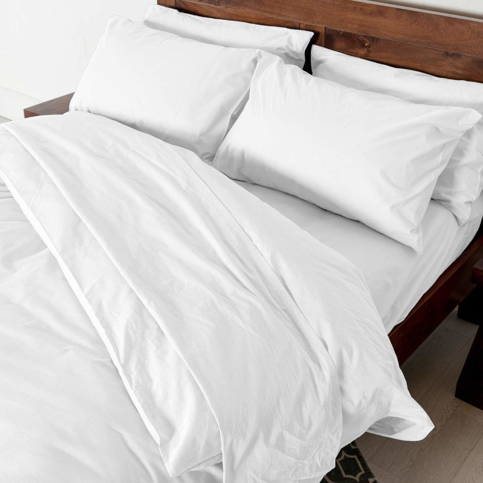 fb395a66df ... Homescapes Double White Egyptian Cotton Duvet Cover Set Plain Dyed  Percale 200 Thread Count with 100 ...