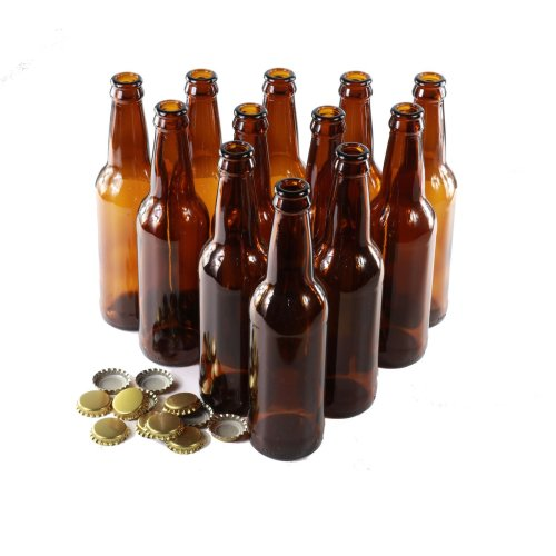 Brown Glass Beer Bottles Pack of 12 Gold Caps - Homebrew (330ml)