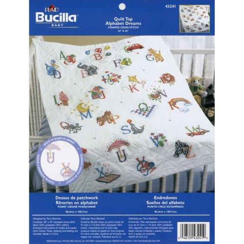 "Bucilla Stamped Cross Stitch Baby Quilt Top 34""X43""-Alphabet Dreams"
