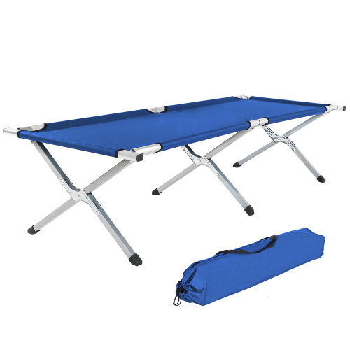 4 camping beds made of aluminium blue