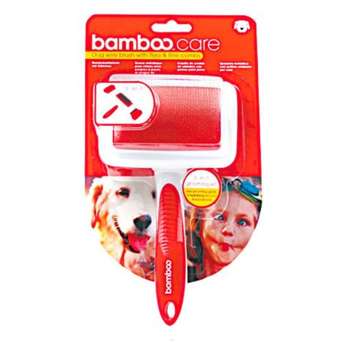 Munchkin Bamboo 3-In-1 Wire Brush & Comb Dog Grooming Tool