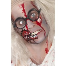 Smiffy's Zombie Make-up Set With Blood Rubber Eyeball - Halloween Make Up Fancy -  zombie halloween make up fancy dress set paint face blood Rubber