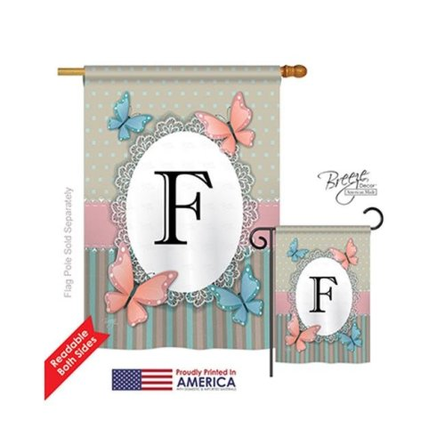 Breeze Decor 30136 Butterflies F Monogram 2-Sided Vertical Impression House Flag - 28 x 40 in.