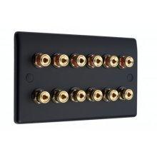 Matt Black Slimline 6.0 Speaker Wall Plate - 12 Terminals - No Soldering Required