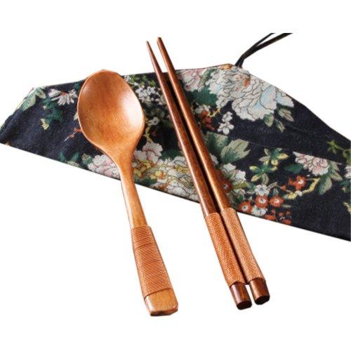 Japaness Kitchen Tableware Dinnerware Flatware Eco friendly Wood Cutlery Wooden Dinner Set #7