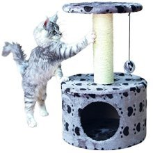 "Trixie 43705 ""toledo"" Cat Tree 61cm Grey With Paws Pattern - Toledo 61cm -  trixie toledo grey cat tree 43705 61 cm paws pattern scratching"