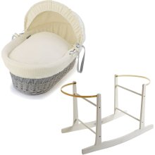 Grey Wicker Cream Waffle Moses Basket With White Rocking Stand