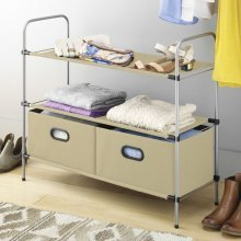 Top Home Solutions 3 Tier Free Standing Closet Organiser Wardrobe Clothes Shoe Storage Drawer Rack, 3 Fabric Shelves with 2 Collapsible Bins -Biege