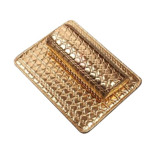 Nail Art Arm Rest Holder PU Leather Soft Hand Cushion Pillow & Pad Rest Gold