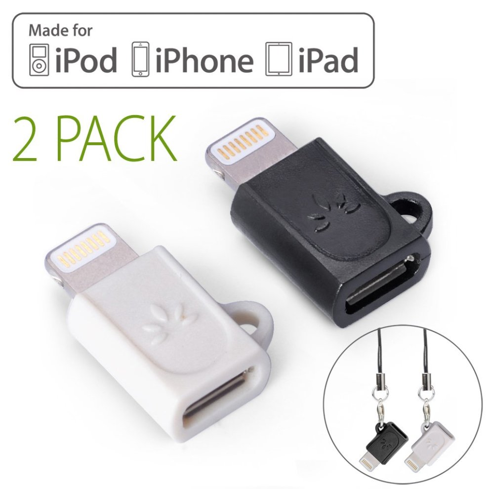 Avantree Lightning Adapter Converters, 2 Pack Micro USB to 8 Pin Converters for iPhone 8 ...