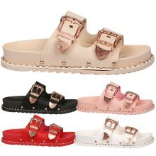 Sylvia Womens Flat Buckle Studded Rubber Sliders