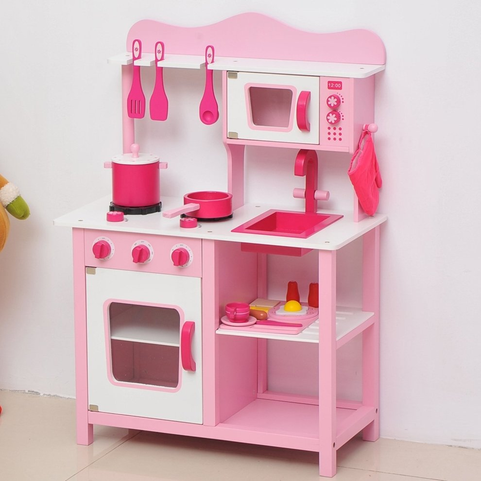 Homcom Wooden Kidsu0027 Kitchen | Pink Kitchen Playset ...