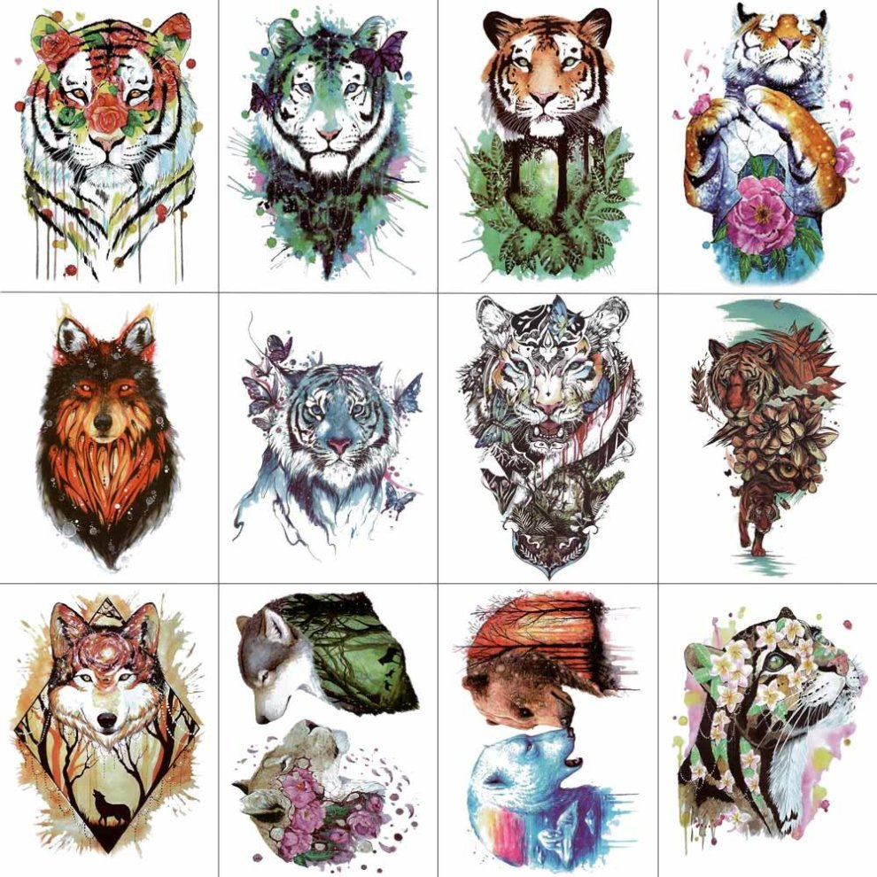 5bdc03b33 ... WYUEN 12 PCS/lot Watercolor Tiger Temporary Tattoo Sticker for Women Men  Fashion Body Art ...