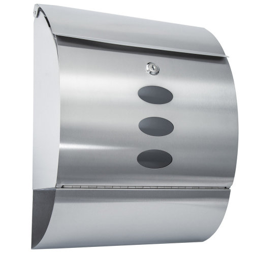 Mailbox with newspaper tube rounded stainless steel - silver