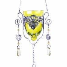 Single Hanging Home or Garden Green Glass Tealight Holder