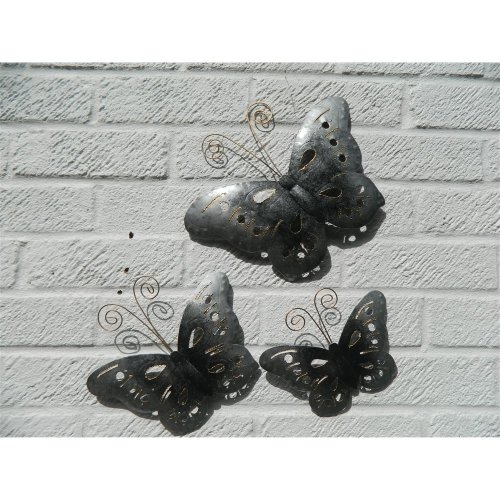Metal Wall Art Butterflies Set of 3 - Silver