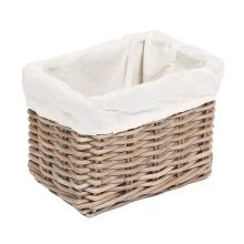 Small Rectangular Wicker Storage Basket with Cotton Lining