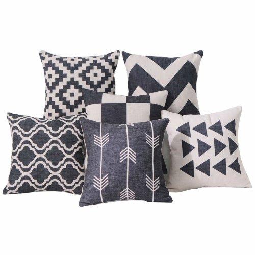 DEZENE Premium Geometric Cushion Covers - Set of 6 - Decorative Cotton Linen Sofa Square Throw Pillow-cases,18 x 18 inch,Black