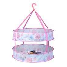 2 Layers Folding Hanging Drying Basket Durable Drying Rack for Clothes, Rose