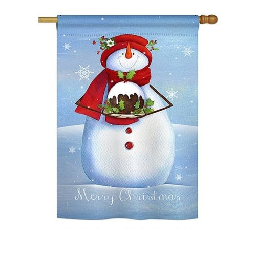 Breeze Decor BD-XM-H-114188-IP-BO-DS02-US Warm Wish Snowman Winter - Seasonal Christmas Impressions Decorative Vertical House Flag - 28 x 40 in.