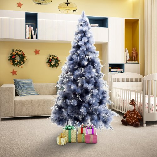 Homcom Christmas Tree Artificial Berry Snow with Metal Stand