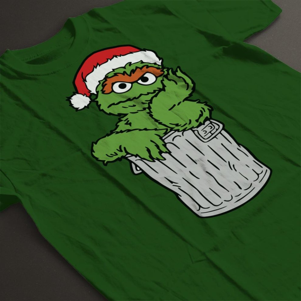 Sesame Street Oscar The Grouch In His Trash Can Christmas Hat Men S T Shirt