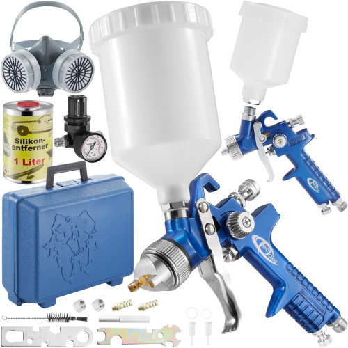 2 HVLP paint spray guns (0.8+ 1.3 mm) + mask + silicone remover - blue