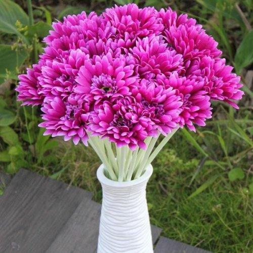 10Pcs Sunbeam Artificial Flower Mum Gerber Daisy Bridal Bouquet Silk Wedding Party Flowers