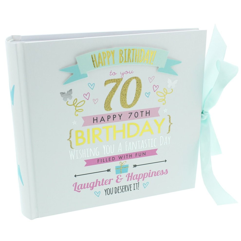 70th Birthday Ladies Pink And Gold Signography Photo Album Lovely Gift Idea