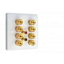 White Slimline 4.2 Speaker Wall Plate - 8 Terminals + 2 x RCA's - Rear Solder tab Connections