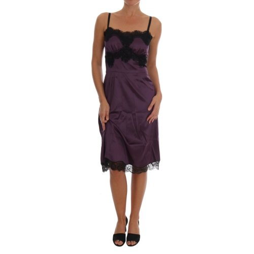 Dolce & Gabbana Purple Silk Stretch Black Lace Lingerie Dress