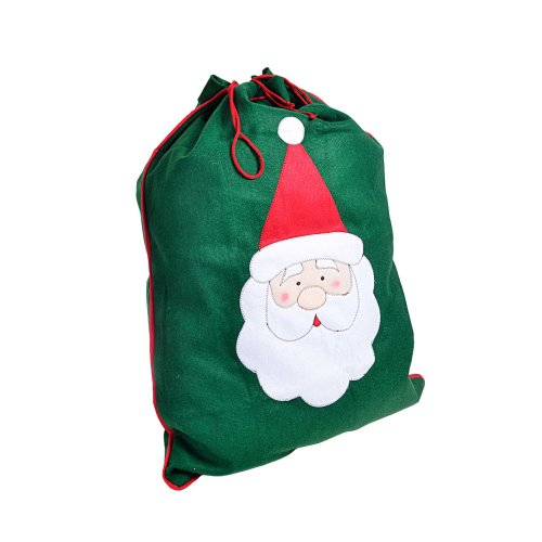 Large Green Felt Christmas Sack Gift Bag with Stitched Father Christmas Design