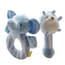2PCS Baby Plush Soft Toy Baby Rattles Ring Rattle  Hand Grasp Rattle, Blue
