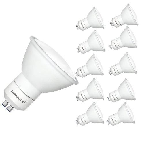 LAMPAOUS 5W LED GU10 LED Spotlight Light Bulb Cool White 6000K, Pack of 10