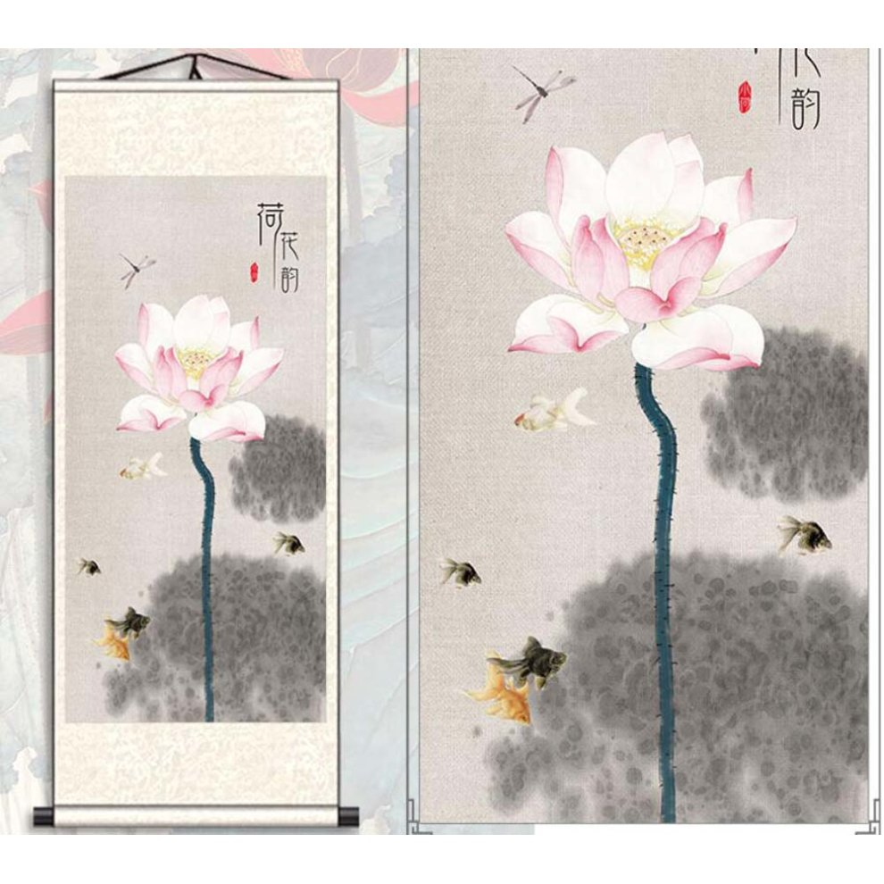Chinese Scroll Painting Home Decor Silk Scroll Hanging Art Lotus