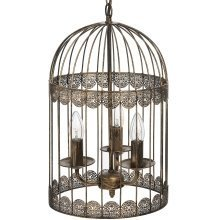Black Birdcage Chandelier with Gold Brush Effect
