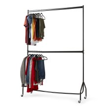 5ft x 7ft Two Tier Heavy Duty Clothes Rail | Black Steel Hanging Rail