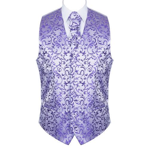 Purple Swirl Leaf Wedding Waistcoat #AB-WW1000/19 Men's XXXL - 52''