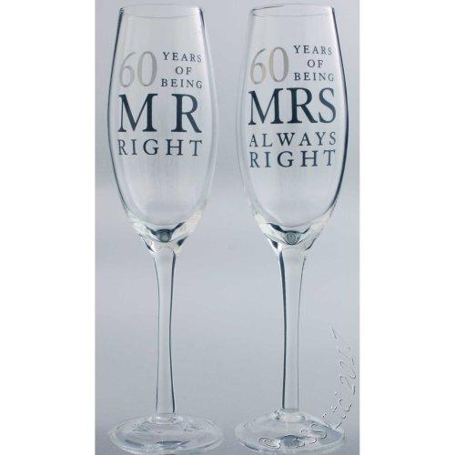 60th Wedding Anniversary Mr & Mrs Right Champagne Glasses Gift Set WG80660