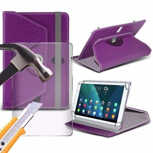 Itronixs - Amazon Fire Hd 10 (10.1 Inch) Tablet Case Premium Pu 360 Rotating Leather Wallet with Tempered Glass Lcd Screen Protector Guard